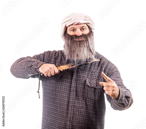 Fotografía  The bearded man with knife isolated on a white background