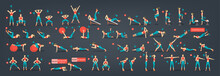 Workout Girl Set. Woman Doing Fitness And Yoga Exercises.
