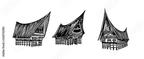Indonesian traditional Batak house set Canvas Print