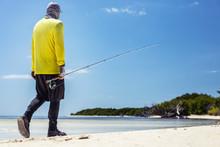 Walking The Caribbean Beach Looking For Bone Fish