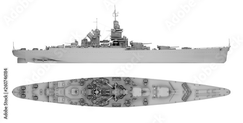 Canvas Print warship in gray