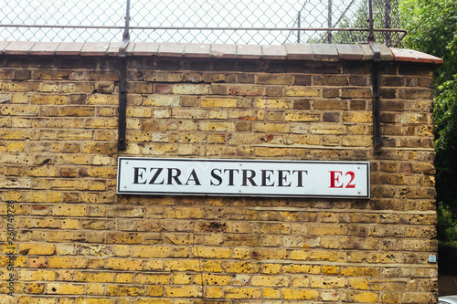 Ezra Street name sign, London Canvas Print