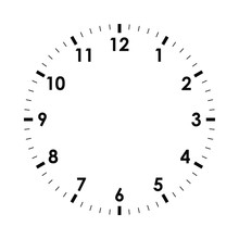 Clock Face Icon. Symbol Watch Isolated On White  Background. Design Template Closeup. Vector Illustration