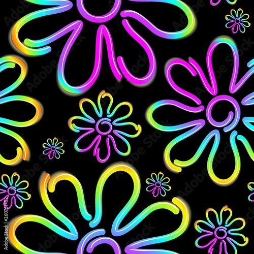 Foto op Canvas Draw Daisy Spring Flower Psycnedelic Neon Light Vector Seamless Pattern Design