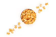 Salty Goldfish Crackers In A Bowl, Shot From The Top On A White Background With A Place For Text