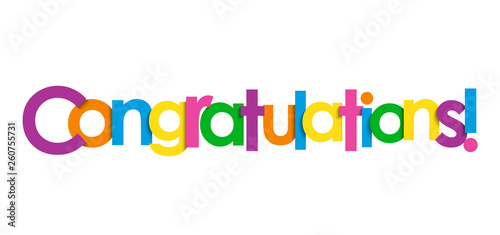 Fotografie, Obraz CONGRATULATIONS! colorful typography banner