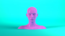 3d Render Of Abstract Mannequin Female Head On Blue Background. Fashion Woman. Pink Human Face.