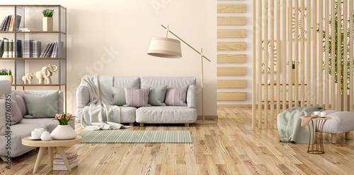 Interior Design Of Modern Living Room With Gray Sofa