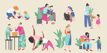 Set Of Vector Illustrations On The Theme Of Motherhood With Cute Moms And Their Children Doing Everyday Activities.