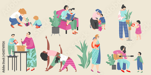 Photo  Set of vector illustrations on the theme of motherhood with cute moms and their children doing everyday activities