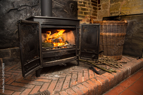 Obraz na plátně Rustic wood burning stove
