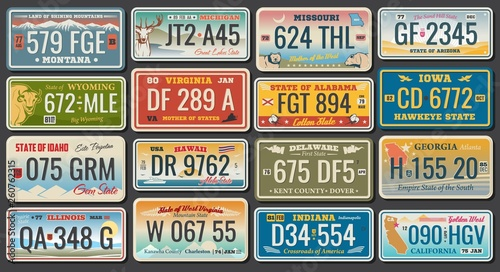 Foto  Abscract vehicle registration number plates