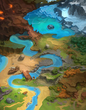 Big Game Level Map, Board Game Digital Concept Art Realistic Background