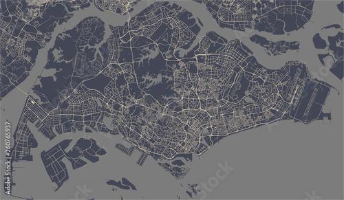 Obraz na plátně map of the city of Singapore, Republic of Singapore