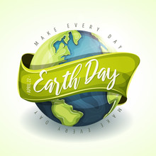 Happy Earth Day Holiday Banner/ Illustration Of A Happy Earth Day Banner, For Environment Safety Celebration