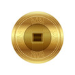 Golden crypto currency, vector