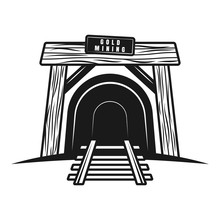 Entrance In Mine Tunnel With R...