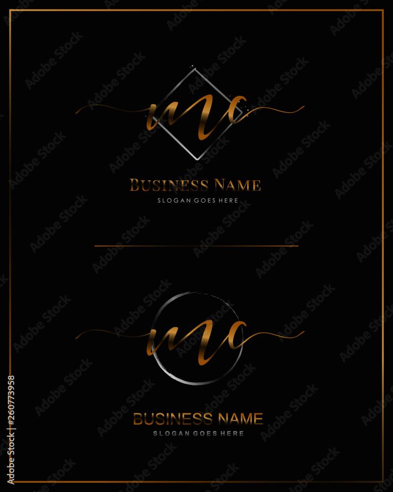 Fototapeta Initial M C MC handwriting logo vector. Letter handwritten logo template.