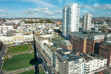 Brighton, England-18 October,2018: Top View Of Brighton Cityscape Town On The British Airways I360 Skyline Tower In Seafront At Brighton East Sussex For Visitor And Tourism.