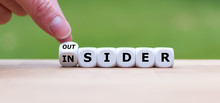 "Hand Turns A Dice And Changes The Word ""OUTSIDER"" To ""INSIDER"" (or Vice Versa)."