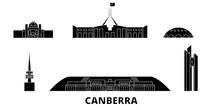 Australia, Canberra Flat Travel Skyline Set. Australia, Canberra Black City Vector Panorama, Illustration, Travel Sights, Landmarks, Streets.