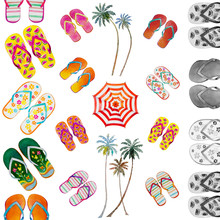 Summer Time With Sea Beach Slippers Umbrella.