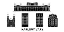 Czech Republic, Karlovy Vary Flat Travel Skyline Set. Czech Republic, Karlovy Vary Black City Vector Panorama, Illustration, Travel Sights, Landmarks, Streets.