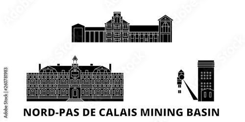 Canvas Print France, Nord Pas De Calais Mining Basin  flat travel skyline set