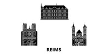 France, Reims Flat Travel Skyline Set. France, Reims Black City Vector Panorama, Illustration, Travel Sights, Landmarks, Streets.