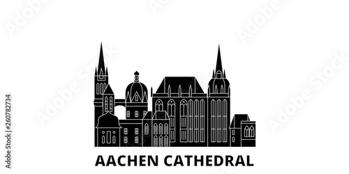 Germany, Aachen Cathedral flat travel skyline set Canvas Print