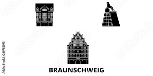 Foto  Germany, Braunschweig flat travel skyline set