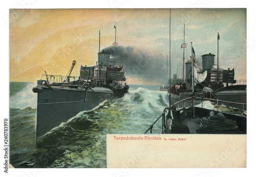 Photo  German historical postcard: Division torpedo boats, colored photo, black smoke from the ship's pipe