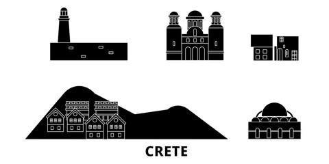 Grecja, telewizor z Kreta podróży krajobraz zestaw. Grecja, Kreta Czarny miasto wektor panorama, ilustracja, Miejsca turystyczne, zabytki, ulice.
