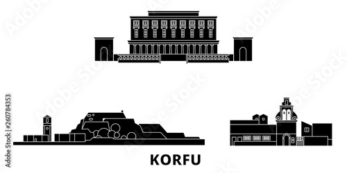 Greece, Korfu flat travel skyline set. Greece, Korfu black city vector panorama, illustration, travel sights, landmarks, streets.