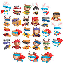 A Vector Collection Of Many Animals In A Superhero Costume