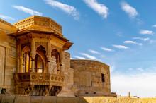 Jaisalmer Fort, Jaisalmer, Rajasthan, India; 24-Feb-2019; Intricate Decoration Of The Tower Balcony