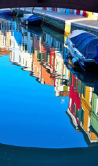 Fototapeta na wymiar reflections of houses on the water in a canal in Burano, Italy