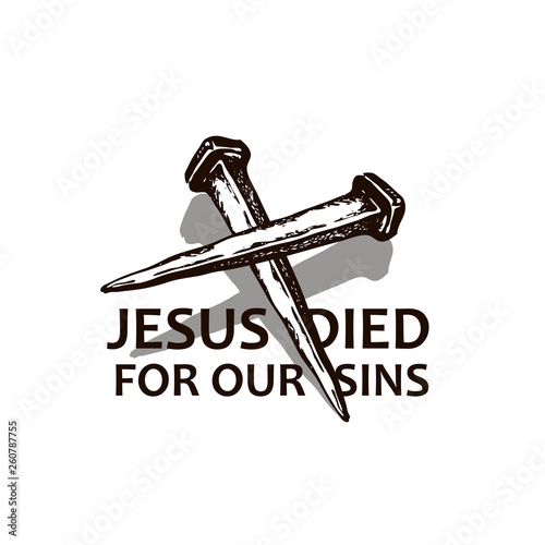 Photo black icon of jesus nails isolated on white background