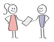 Stick Figure - woman handing paper to a man