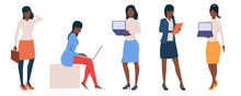 Set Of African Businesswomen With Laptops
