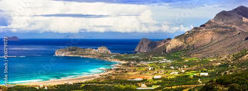 wild beauty of Crete island. Picturesque Falasarna beach. travel in Greece