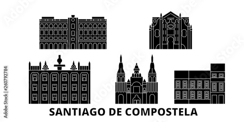 Tablou Canvas Spain, Santiago De Compostela flat travel skyline set