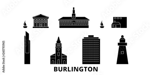 Fotografie, Obraz  United States, Burlington flat travel skyline set