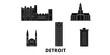 United States, Detroit flat travel skyline set. United States, Detroit black city vector panorama, illustration, travel sights, landmarks, streets.