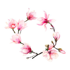 Beautiful lovely tender herbal wonderful floral summer wreath of a pink Japanese magnolia flowers watercolor hand illustration. Perfect for textile, wallpapers, invitation, wrapping paper, phone case