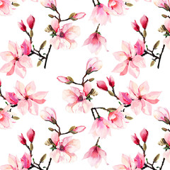 Fototapeta Inspiracje na lato Beautiful lovely tender herbal wonderful floral summer pattern of a pink Japanese magnolia flowers watercolor hand illustration. Perfect for textile, wallpapers, invitation, wrapping paper, phone case