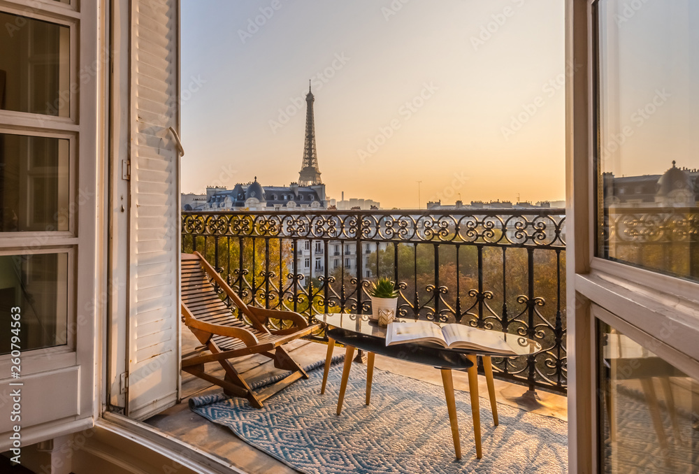 Fototapeta beautiful paris balcony at sunset with eiffel tower view