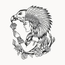 Female Native American Eagle Vector Illustration