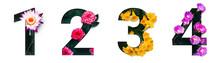 Flower Font Number 1, 2, 3, 4 ...