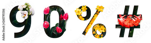 Fotografia  Flower font number 9, 0, %, # Create with real alive flowers and Precious paper cut shape of Number